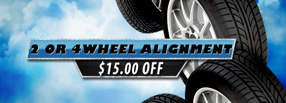 Save With $15.00 OFF a 2 or 4 Wheel Alignment!